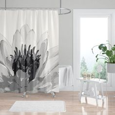 Giant Water Lily Black and White Spa Shower Curtain Give your bathroom some lotus love with this larger-than-life water lily shower curtain. Neutral and calming but also bold and unique, oversized art for your bathroom that will comp Neutral Shower Curtains, Fabric Shower Curtains, Bathroom Shower Curtains, Spa Bathroom Design, Bathroom Spa, White Bathroom, Bathroom Ideas, Bathtub Ideas, Bathroom Signs