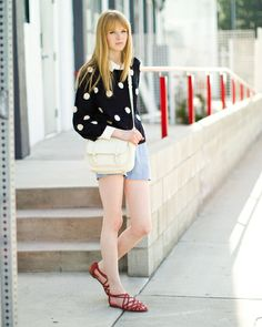 Polka Dots & Coral Sandals