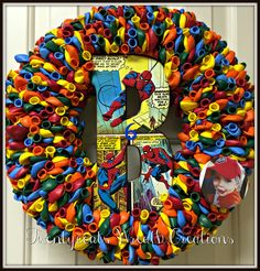 Memorial Balloon Birthday Wreath to honor my grandsons 6th birthday.....his 4th heavenly birthday.  Made by his Nana, aka Twentycoats Wreath Creations (2016)