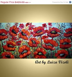 Original Painting Abstract Oil Flowers RED POPPIES Holiday Wall Decor by Luiza Vizoli on Etsy, $318.75