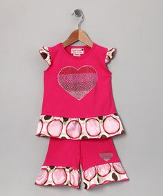 Take a look at this Pink Polka Dot Ruffle Top & Pants - Infant & Toddler by Over the Rainbow: Girls' Apparel on #zulily today!
