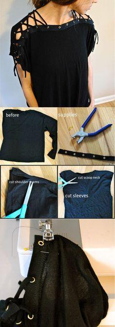 Laced Up Collar Sleeves DIY | Hot Top Design Tutorial by DIY Ready at diyready.com/diy-clothes-sewing-blouses-tutorial/