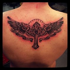 #scumbekkers #tattoos #cross #wings #traditional