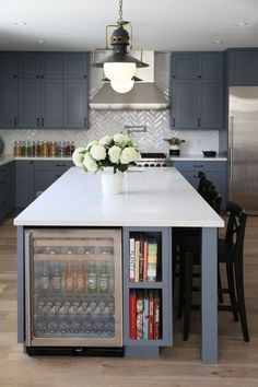 Drink fridge and book shelf in island... Good use of space. Kitchen Renovation Planning (Help!) - Emily A. Clark
