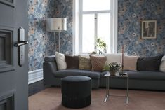 Anemone Wallpaper from the Apelviken Collection by Midbec Wallpapers is a blue floral wallpaper with pink flowers and blue leaves on grey. Blue Floral Wallpaper, Interior Wallpaper, Room Wallpaper, Wallpaper Ideas, Guest Room Office, Mix Style, Interior Decorating, Interior Design, Traditional House