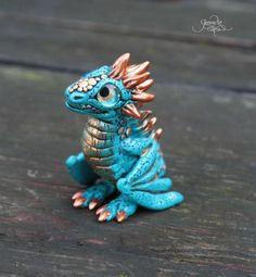 Water Baby Dragon sculpture - blue sea dragon figurine - ooak fantasy sculpture - targaryen dragon - turquoise dragon - magic forest animal - polymer clay - by GloriosaArt