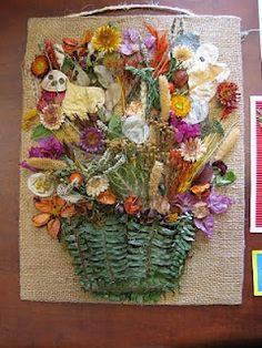 Artesanía con flores secas