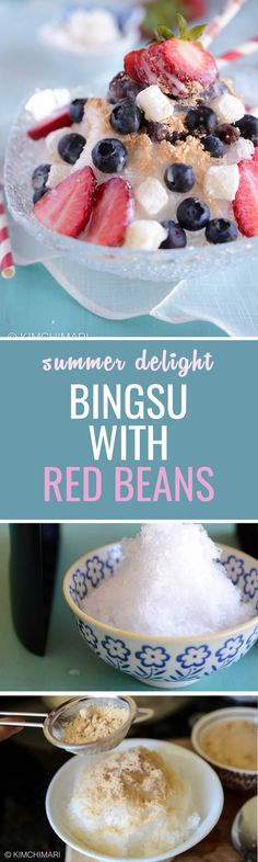 Bingsu shaved ice recipe with red beans and bean powder. Refreshingly sweet and cold!