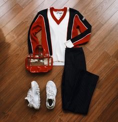 Found at Common Sort - Munsing Wear sweater, vintage pinstripe trousers, Nike Air Huarache shoes and Tommy Hilfiger bag