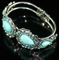 Turquoise & Rhinestone Bangle Bracelets