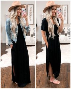 Cute way to style a black maxi. – Valaree Fowler Cute way to style a black maxi. Cute way to style a black maxi. Casual Dress Outfits, Outfits With Hats, Black Maxi Dress Outfit Ideas, Preppy Outfits, Black Tshirt Dress Outfit, Casual Church Outfits, Summer Casual Outfits For Women, Black Hat Outfit, Black Summer Outfits