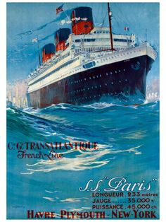 S.S. Paris by Albert Sebile Cruise Ad Poster (reproduction)