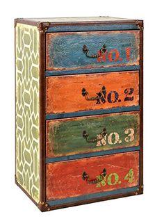 Kommode Vintage Holz 3 Schubladen chic bunt antik used Shabby Retro Look