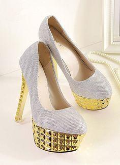 Silver Metallic High Heel Shoes                                                                                                                                 ❦~HeadOverHeels~❦