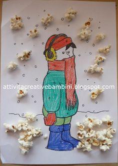 Attività Creative Per Bambini: Attività con il Pop-Corn Winter Time, Winter Holidays, Kino Party, Popcorn, Winter Crafts For Kids, All Kids, Creative Activities, Deco, Smurfs