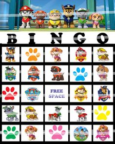 Paw Patrol Bingo Game  12 different cards  Game by BellaBabies4, $5.50