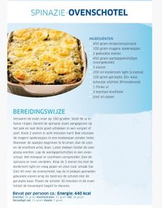 Spinazie ovenschotel van Sonja Bakker Gluten Free Recipes, Healthy Recipes, Easy Recipes, Light Recipes, Quick Easy Meals, Food For Thought, Dairy Free, Good Food, Food And Drink