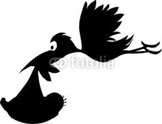 stork with baby vector silhouettes by draganm, Royalty free ...