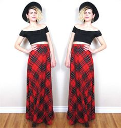 70s Plaid Maxi Skirt High Waisted Red Tartan by honeymoonmuse, $48.00
