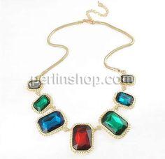 Kristall Zinklegierung Halskette, mit Kristall, mit Verlängerungskettchen von 2lnch