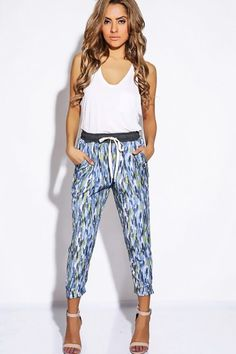 Trendy Cute Dusty blue/pink water color print jogger dress pants fo cheap   Affordable Clothing   1015 store
