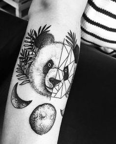 #tattoo #tatuagem #ink #inked #bodymodification #alineymarques #blackandwhite #panda #geometric