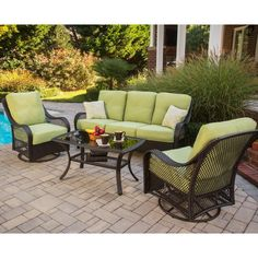 Hanover Orleans 4 Piece Patio Seating Set With Avocado Cushions