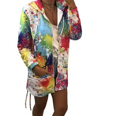 Wholesale women's and men's apparel, with accessories. Graffiti Prints, Cool Store, Colorful Hoodies, Zip Up Hoodies, Harajuku, Outfit, Bunt, Zip Ups, Kimono Top
