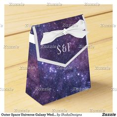 Shop Outer Space Universe Galaxy Wedding Favor Box created by ShabzDesigns. Galaxy Wedding, Wedding Favor Boxes, Space Wedding, Personalised Box, Wedding Night, Ribbon Colors, Outer Space, Corporate Events, Universe