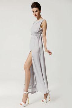 light grey halter dress