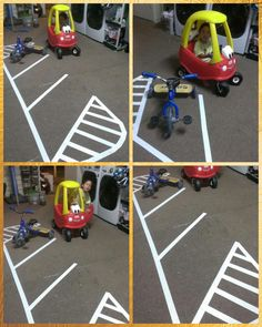 Mini parking lot made from white duct tape for tricycle and cozy coupe.