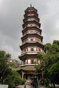 Pagoda at Six Banyan Temple. Built in 537 . In Guangzhou, China - (Photo © Withoutink)