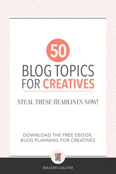 Here are 50 blog post topics that all creatives/artists can use in their blogging business! Plus, click through to download a 14 page workbook to plan your creatives blog posts and promotions.