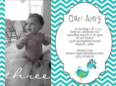 Peacock Invite Invitation Printable - Birthday, Baby Shower - Choice of 3 Designs - Chevron Blue Green Purple