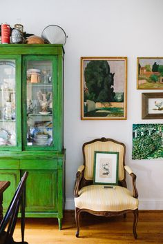 Love the color of this gorgeous green hutch!