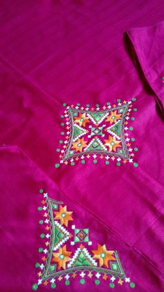 Kutch work on sleeves n neck Hand Embroidery Dress, Hand Embroidery Videos, Hand Embroidery Tutorial, Embroidery Suits Design, Flower Embroidery Designs, Indian Embroidery, Hand Embroidery Stitches, Embroidery Applique, Beaded Embroidery