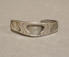 Vintage Pewter Cuff Bracelet Neat Modernist Brutalist Design Heavy Unisex Mens Mans Womans Jewelry