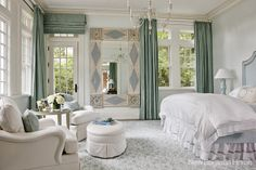 Beautiful Bedroom with Turquoise Drapes and Accents
