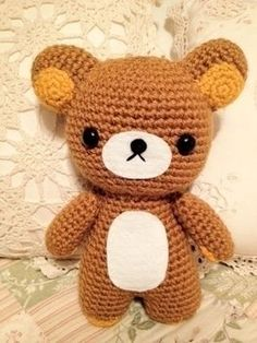 Go crazy for Rilakkuma! .  Make a bear plushie / teddy bear in under 60 minutes by needleworking, sewing, yarncrafting, crocheting, and amigurumi with yarn, polyfill, and safety eyes. Inspired by creatures, kawaii, and bears. Creation posted by Shirls. Difficulty: Easy. Cost: No cost.
