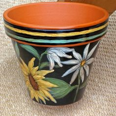 """Hand Painted Flower Pot, """"Sunflowers"""" 8 Inch Terracotta-Made to Order"""