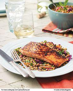 Salmon & Lentil Salad (Balsamic honey dijon vinaigrette) | Cuisine at home eRecipes