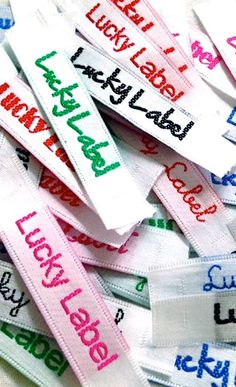 NAME TAPES  These satin woven labels are perfect for naming your clothing or give a professional look to your handicrafts.  http://luckylabel.com/prd_name_tags.asp