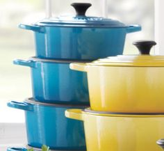 Obsessed. Le Creuset Soleil   Sur la Table  I can't tell you again and again how wonderful these dutch ovens are!  There are numerous new look alikes on the market now...beautiful and I am sure wonderful.  Look at TJ Max, Marshalls, Homegoods...Martha Stewart, Rachel Ray, and countless new brands.  Less expensive!