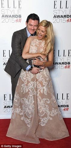 Hug me like you do: Ellie Goulding was on hand to give actor Luke Evans the Actor of the Y...