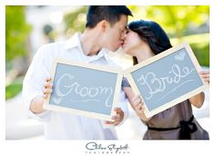 Bride and groom written in mini chalkboards engagement session prop by Chelsea Elizabeth Photography, via Flickr