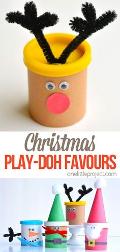 These Christmas Play-doh favours are really easy to put together and make the most adorable favours for any Christmas party! They are also a great treat idea if you're looking for something non-candy or non-food to give to your kids' classmates. They go together quickly and end up looking pretty darn cute!