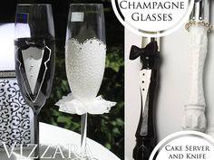 wedding cake knife server set wedding Bride and Groom toasting