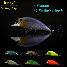 Jerry 68mm high quality Japanese hard plastic crank bait sea fishing lure shallow diving wobbler