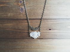 spellbound necklace - clear quartz crystal points, long ladder  necklace