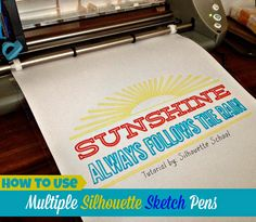 Our popular Silhouette School Sketch Pen Series continues today with a tutorial on how to use multiple sketch pens on a single Silhouett. Silhouette Cutter, Silhouette Curio, Silhouette Vinyl, Silhouette America, Silhouette Portrait, Silhouette Machine, Silhouette Design, Silhouette Files, Silhouette School Blog